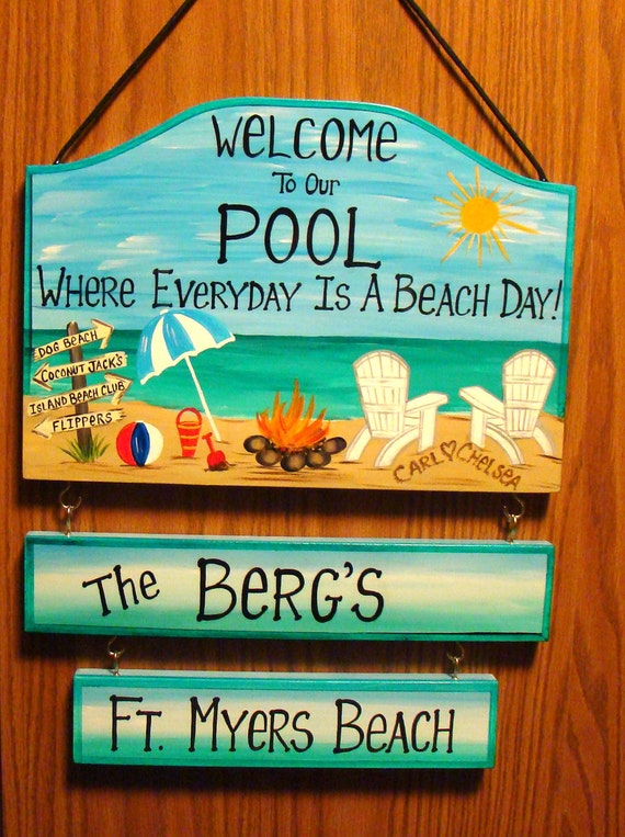 Custom Welcome to our Pool Swimming Home Backyard Sign Beach