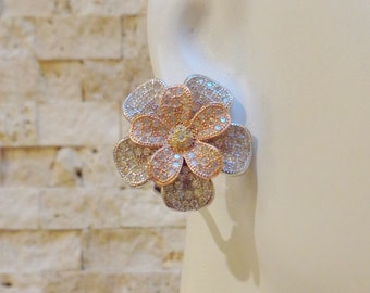 Tri-Gold flower earrings with pave cz