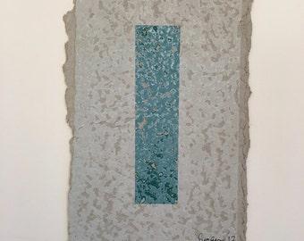 Untitled - Green Stripe - Screen Print on Handmade Paper