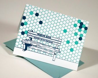 Baltimore Letterpress Card | Reading Zone Bench | turquoise & light blue single blank card with envelope
