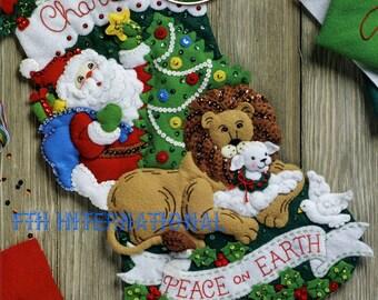 "Bucilla Peace on Earth ~ 18"" Felt Christmas Stocking Kit #86665, Lion Lamb Santa DIY"