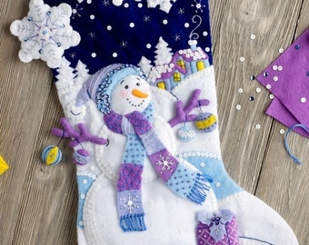 "Bucilla Frosty Night ~ 18"" Felt Christmas Stocking Kit #86703, Snowman DIY"