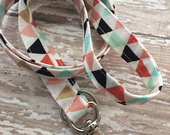 Fabric lanyard / Teacher lanyard badge id key holder floral