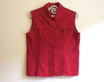 Red Womens Blouse Linen Cotton Blouse Sleeveless Summer Blouse Buttons up Top Extra Large Size