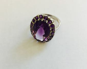 Amethyst White Gold Ring 14KT Gold Large Oval Center Stone