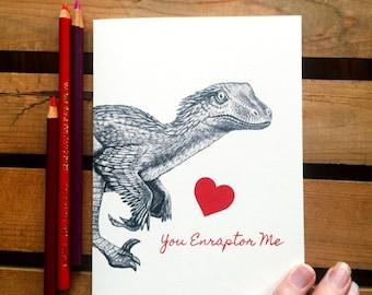 Dinosaur Valentine Card - Velociraptor Valentine - Nerdy Valentine - Geeky Valentine - Boyfriend / Husband Romantic Card - Anniversary
