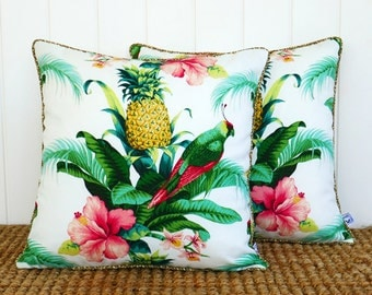 Palm Parrot Outdoor Square Cushion Pillow Cover - With Natural Piping trim