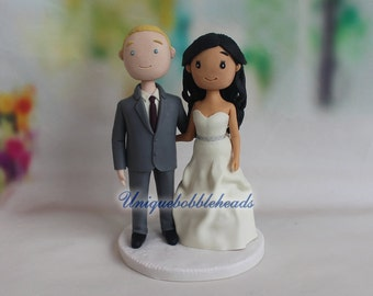Cartoon wedding cake topper, custom made figurines, custom figurines, cute cake topper, custom wedding figurine