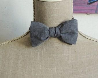Bow tie, black cotton chambray.