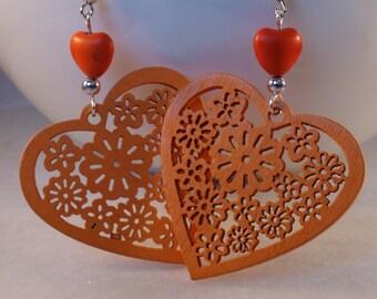 Orange Wooden Heart Charm Earrings, Orange Wooden Pendant, Heart Bead Earrings, Bright Summer Earrings, Heart Earrings, Large Earrings, Gift