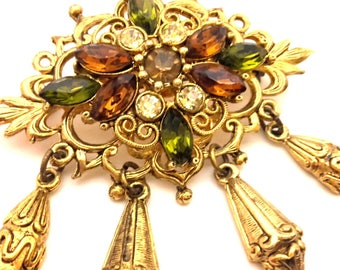 Brooch Multicolored Vintage Retro Gold Plated Unique Charming