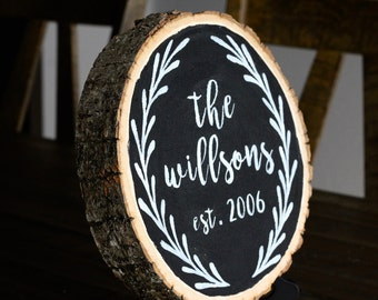 personalized sign, wood stump, tree stump, family name sign, wedding gift