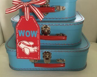 New Blue with Red Handle Mini Suitcases