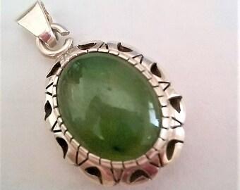 Sterling Silver Genuine Green Jade Cabochon Pendant Genuine 925 Vintage Jewelry