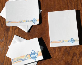 Marbleized Paper and Diamond Monogram Personalized Stationery Gift Set, Monogram Stationery Set, Personalized mothers days gifts ideas