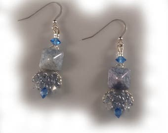 Sapphire Blue Earrings with Swarovski Crystals and Sterling Silver