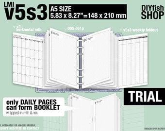 Trial [A5 v5s3 w DS5 do1p] November to December 2017 - Filofax Inserts Refills Printable Binder Planner Midori.