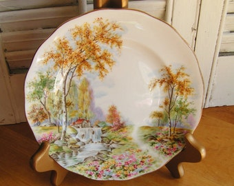 """Vintage Royal Standard The Old Mill Stream 7"""" Dessert or Bread and Butter Plate Stream with a Mill Flowers and Trees Cottage Chic Tea Party"""