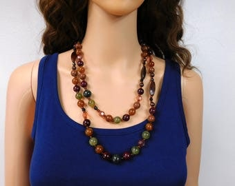 Long Beaded Necklace Gemstone Color Dark Beaded Double Wrap Around Vintage Bead Necklace Jewelry