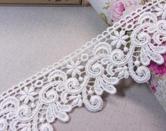 1yard Vintage style Cotton Crochet Lace The Garden Floral #mj