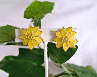 Gorgeous 1960's Vintage Yellow Gold Sparkling Enamel Poinsettia Clip Earrings