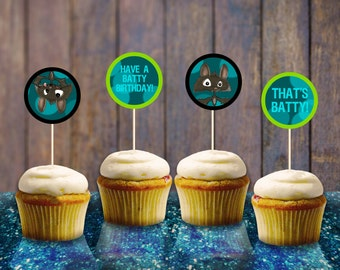 Bat Boy Toppers INSTANT DOWNLOAD Printable Bat Cupcake Muffin Toppers Digital File Batty Party Supplies Birthday