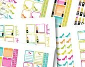 Lipstick n Heels Sticker Book: Neon Lights PRINTABLE Sticker Kit -Instant Download, printable planner stickers