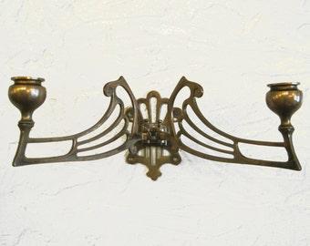 Antique Art Nouveau adjustable brass wall sconce/ candle holder