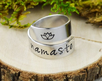Namaste Yoga Wrap Ring // Handstamped Inspirational Jewelry