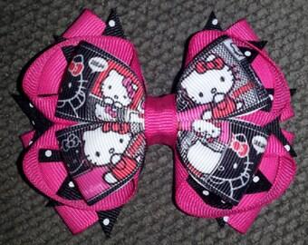 Hello Kitty Handmade Fuchsia Black Stacked Boutique Bow