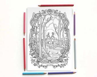 Coloring page PDF -Anne and Diana - Lucy Maud Montgomery Anne of the green gables- Instant download - Printable illustration