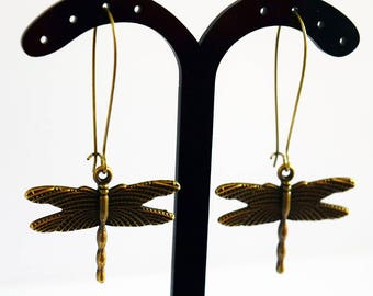 Stunning Statement Antique Bronze Tone Dragonfly Design Drop Earrings
