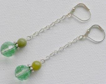 Green chain earrings, green earrings, silver and green earrings, long earrings