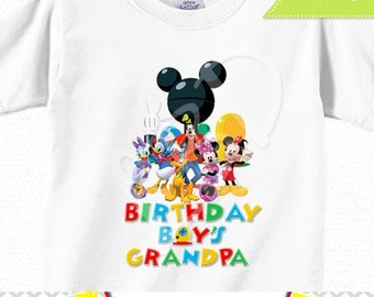 Mickey Mouse Birthday Shirt Iron On Printable, Birthday Boy's Grandpa | INSTANT DOWNLOAD