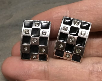 Vintage sterling silver earrings, solid 925 silver with grid textured surface and crystal inlay, stamped sterling, signed