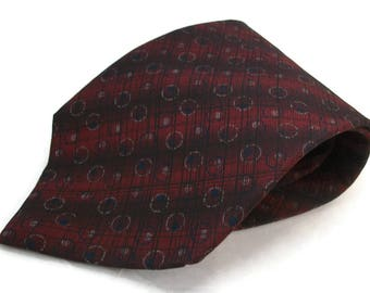 Vintage Geoffrey Beene Necktie 100 Percent Silk Mens Tie - 4 inch wide 58 inches long - Deep Red Black Navy Blue
