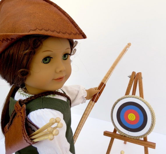 Doll ARCHERY SET Handcrafted for 18 Inch dolls such as American Girl®  Wood bow and arrows, quiver, hat, tripod with target base, targets
