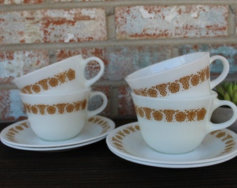 1970s Set of 4 Butterfly Gold Corelle by Corning