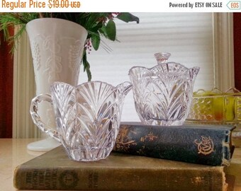 Noritake Full Lead Crystal Cream and Sugar Set Treasury Pattern