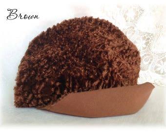 Italian CURLY viscose Fabric Brown colour 10 mm pile 1/8 metre teddy bear making supplies plush