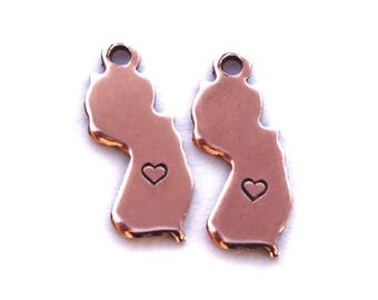 2x Rose Gold Plated New Jersey State Charms w/ Hearts - M132/H-NJ