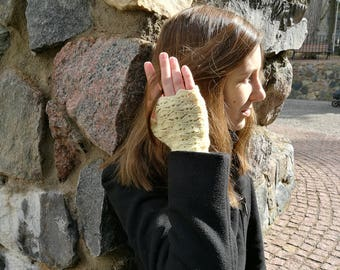Fingerless gloves, yellow arm warmers, wrist warmers, wristers.