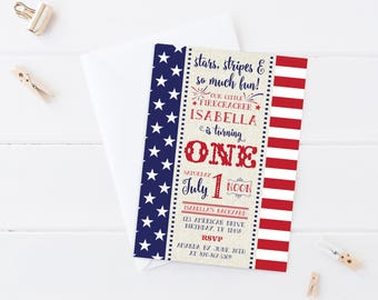 4th of July birthday Invitation, 4th of July birthday party, 4th of July first birthday, labor day invitation, Patriotic Birthday invitation