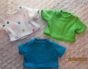 READY to SHIP 3 T-Shirts as shown fits 15 or 18 inch dolls, t shirt, 15 inch doll tshirt, 18 inch doll tshirt