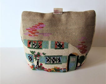 Vintage Hand Made Tapestry Tea Cosy  - Quaint Cottage Design - For Large Sized Teapot.