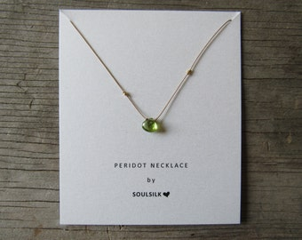 PERIDOT and GOLD necklace on a thin silk cord gift card August birthstone 24k gold nuggets dainty delicate