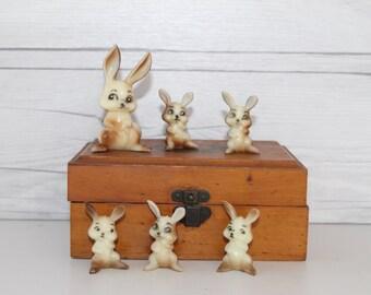 Vintage Lot of Plastic Bunny Rabbit Cake Toppers, Vintage Cake Decorations, Vintage Cupcake Topper