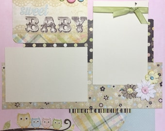 12x12 Premade Pages or Scrapbook Kit - Sweet Baby