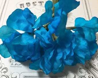 Vibrant blue vintage millinery flower bunch