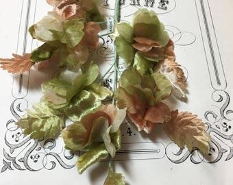 Vintage millinery velvet and organza flower and leaf spray